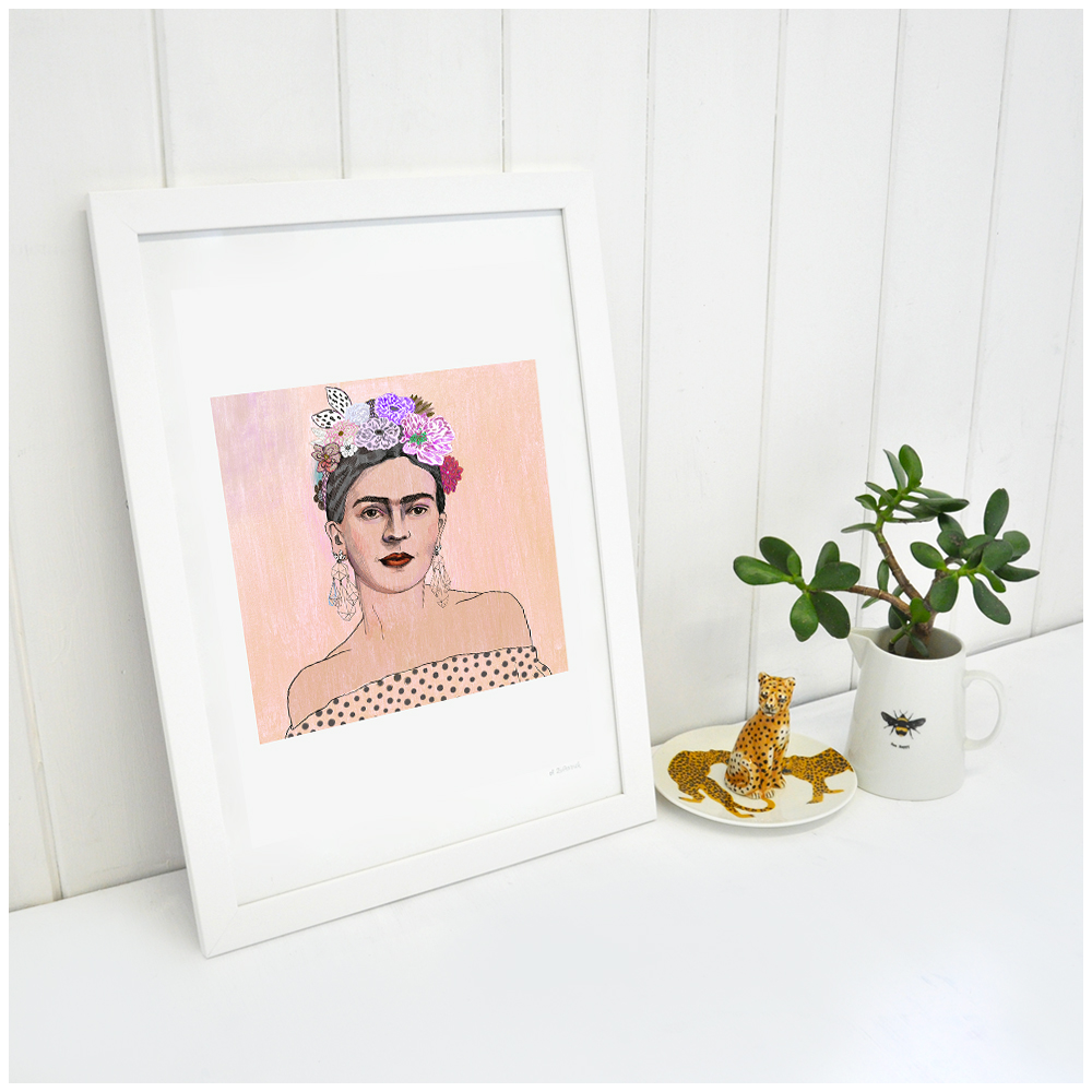 Peach Frida Kahlo Signed Fine Art Print – Neon Tiger